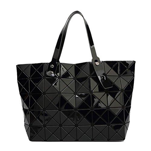 AJLBT Modelos De Verano Bolsas Grandes Para Mujeres Costura Bolsas Geométricas Diamantes Laca Cambiando Hombros Bolsos Black