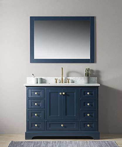 "UrbanFurnishing.net - Jocelyn 48-Inch (48"") Bathroom Sink Vanity Set with White Italian Carrara Marble Top - Blue"