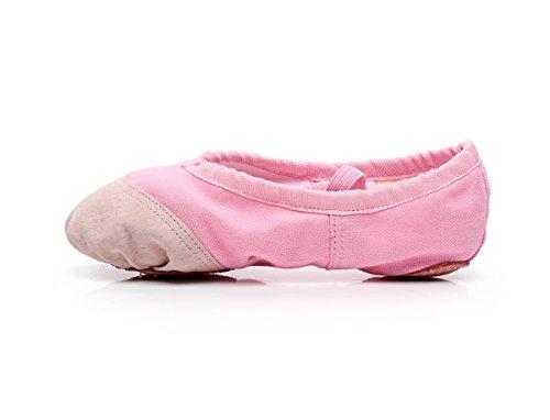 Baysa Kvinner Jenter Lerret Ballett Tøffel Dans Sko Yoga Sko Alle Størrelse Rosa