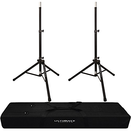 2x Ultimate Support TS-80B Speaker Stand with Padded Dual Tripod Tote ()