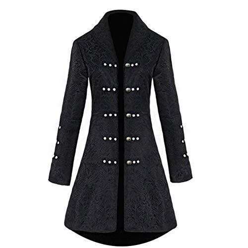 H&ZY Women Retro Gothic Steampunk Vintage Jacket Dress Halloween Costume Victorian Frock Coat Black
