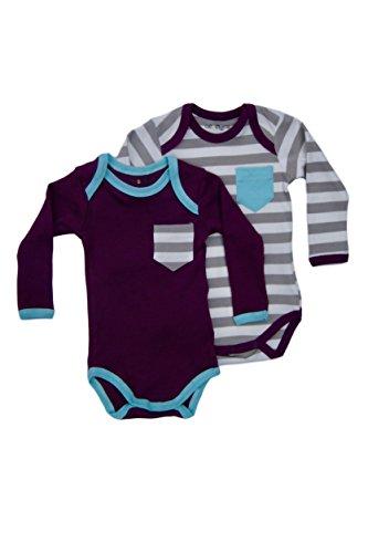 Cat & Dogma - Certified Organic Infant/Baby Clothes Eggplant/Aqua Bodysuit 2 pack (6-12 Months) (Halloween Bunny Makeup)