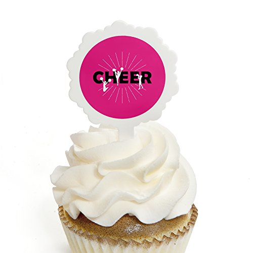 We've Got Spirit - Cheerleading - Cupcake Picks with Stickers - Birthday Party or Cheerleader Party Cupcake Toppers - 12 Count