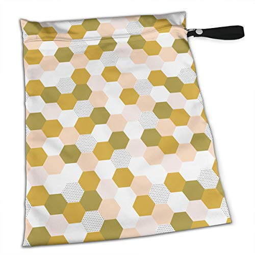 Cao Honey - BBT-CAO A Honeycomb Hexagonal Shape Reusable Waterproof Baby Diaper Wet Bags with Zipper - Multipurpose Bag for Swimsuit Or Wet Clothes