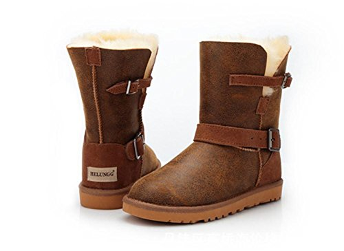 Taille Bottes Coton Neige BROWN Femmes Veau Hiver Imperméable Marron Antidérapant EUR38UK55 Chaud Chaussures Moto Milieu NVXIE 8axqnwHw