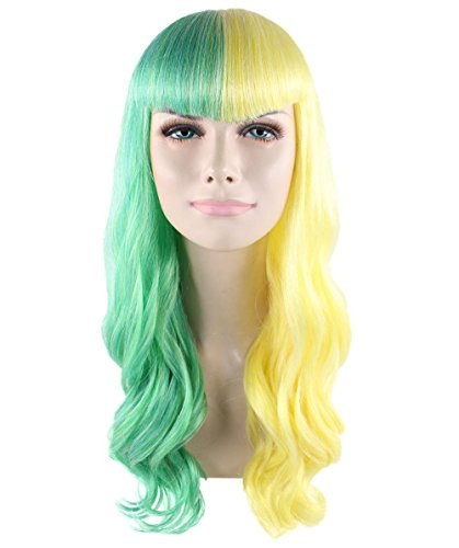 Halloween Party Online Joker Girl Wig, Green/Yellow Adult (The Joker Girl Halloween)