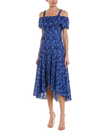 Taylor Dresses Women's Cold Shoulder Embroidered High Low Dress, Blue Navy, 14 ()
