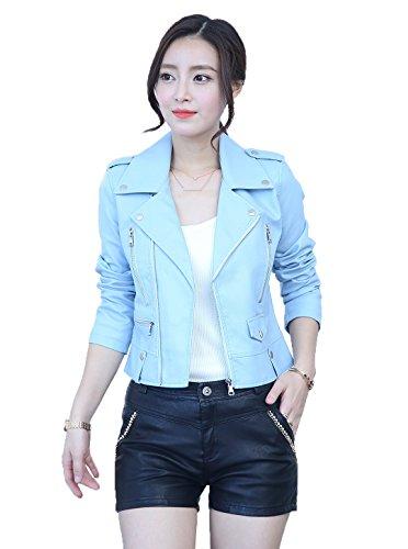 COMVIP Women's Turn-down Collar Moto Biker Short Cropped Jacket Coat Blue