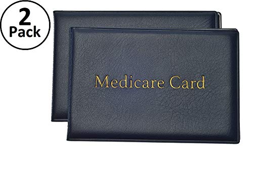 Medicare Card Protector with 2 Clear Card Sleeves - Holds Medical Prescriptions, Social Security Card, Driver License, Health Insurance, ID, Credit Card Holders, Blue, 2 Pack