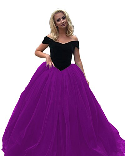 Sdress Womens Cap Sleeve Boat Neck Multicolor Ball Gown Prom