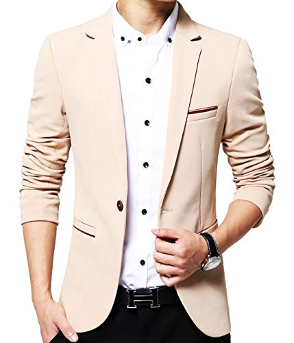 (Mens Slim Fit Single One Button Blazer Jackets Khaki US X-Small/Label X-Large)
