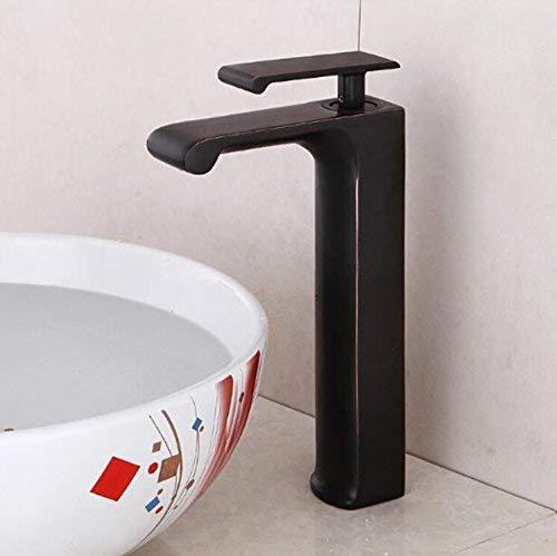 JingJingnet オイルこすりブロンズ黒蛇口浴室水蛇口バニティ容器シンクミキサータップコールドとホットアンティーク背の高いタップ (Color : B) B07R7H3TDG B