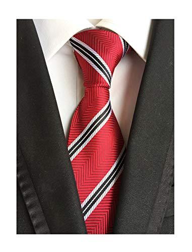 Background Necktie Black (Men Stripe Hot Red White Black Woven Silk Ties Classic Designed Quality Neckties)