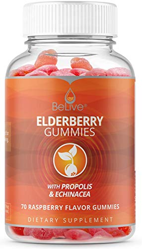 Elderberry Gummies with Vitaminc C, Propolis, Echinacea. Max Strength 200MG - Sambucus Black Elder Immune Support Vitamins Supplement Made for Adults & Kids | Raspberry Flavored. 70 Count
