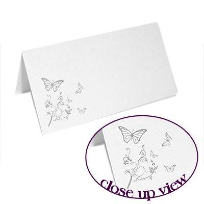 Celebration Place Cards with Butterfly Design - 50 pack - WHITE Brides Companion