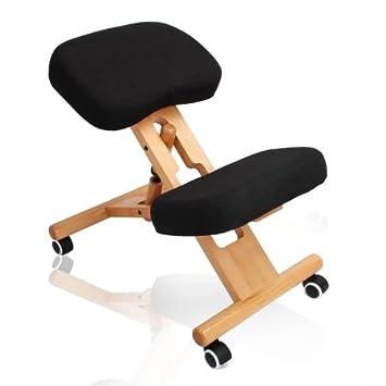 Ergonomic Kneeling Office Chair Wooden Adjustable Mobile Padded Seat And  Knee Rest (Black)