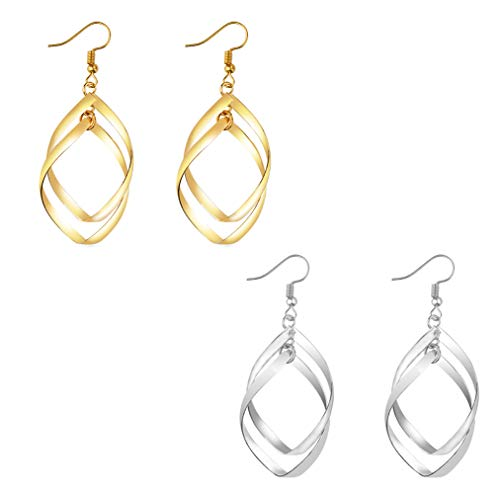 (HOVEOX 2 Pairs Classic Double Linear Loops Design Twist Wave Dangle Earrings for Women Girls)