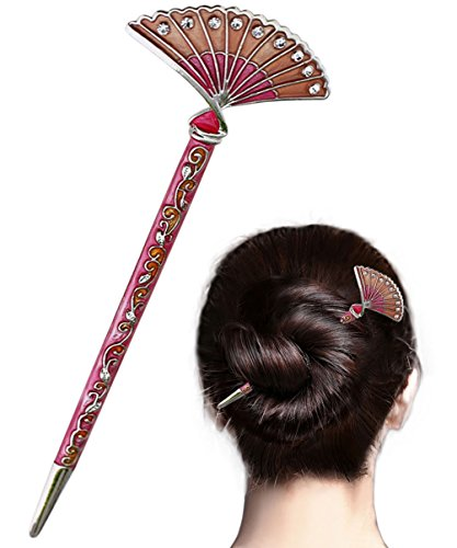 LiveZone Fashion Hair Decor Chinese Traditional Style Women Girls Hair Stick Hairpin Hair Making Accessory with Fan Shaped,Pink