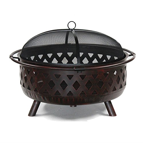 ALEKO FP003 Laser Cut Distressed Bronze Weave Design Fire Pit with Poker and Flame Retardant Lid 36 Inches Bronze Review