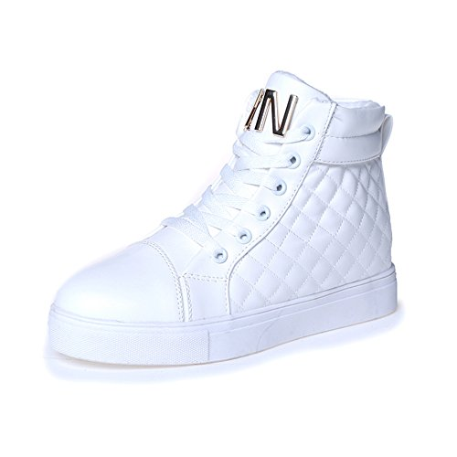 PP Fashion Women's Formal Lace-up High Top Quilted PU Sneaker Casual Shoes White US5/EU35