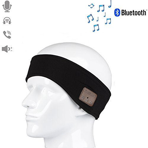 CFZC Sport Bluetooth Headband Fitness Sweat Absorbed Music Player with Earphone Stereo Speakers Mic Hands Free for Indoor Yoga Exercise Gym Outdoor Running Walking Cycling Fishing--Black