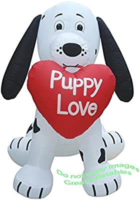 007adf82bfc2b Gemmy Airblown Inflatable Valentine's Dalmatian Puppy Holding a Heart that  says Puppy Love - Valentines Decoration, 7-foot Tall