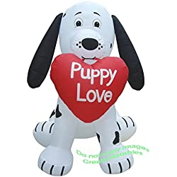 VALENTINES DAY INFLATABLE 7' DALMATION WITH PUPPY LOVE HEART IN MOUTH HOLIDAY PROP DECORATION