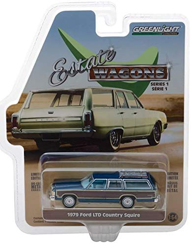 Greenlight 1:64 Estate Wagons Series 1-1979 Ford LTD Country Squire Midnight Blue Diecast Car 29910E -