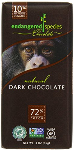 Endangered Species Chimpanzee, Natural Dark Chocolate (72%), 3-Ounce Bars (Pack of 12)
