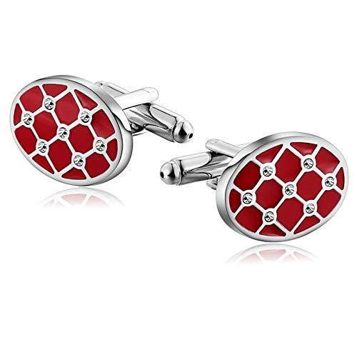 Aooaz Jewelry Men Cufflinks Geometry with Crystal Oval Shaped Cufflinks Silver Red