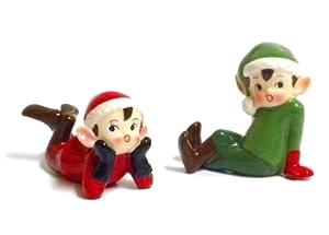 Amazon.com: Retro Vintage Style Christmas Elf Figurines-Red and ...