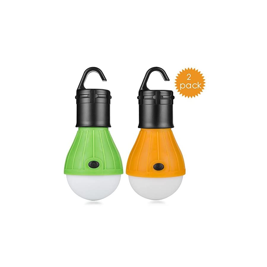 2 Pack Portable LED Lantern Tent Light Bulb for Camping Hiking Fishing Emergency Light, Battery Powered Camping Lamp with 6 AAA Batteries … (6)