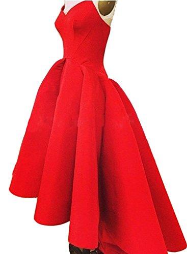Lo Angela Women's Hi Satin Formal V Dresses Neck Red Evening Long IqpSZwq