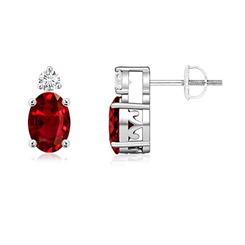 Angara Oval Natural Ruby and Diamond Basket Stud Earrings in 14k White Gold Qzc7u88hA