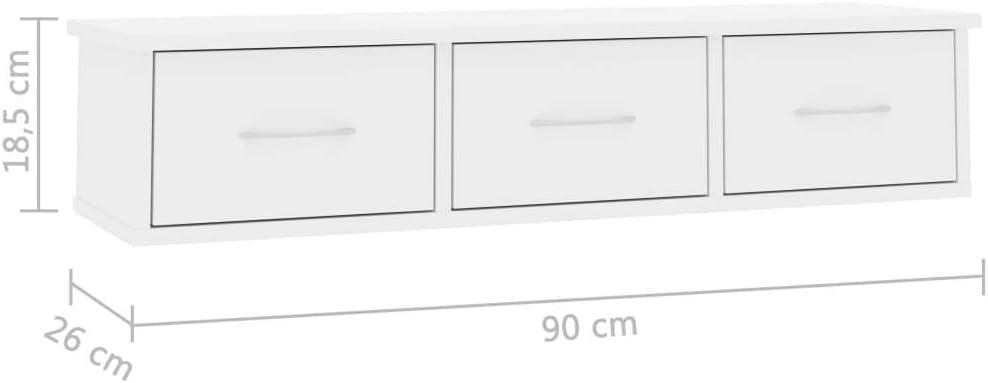 Festnight Estante de Cajones Pared Aglomerado Blanco con Brillo 90X26X18,5 Cm con 3 Cajones Estante de Pared Estante Flotante Armario Suspendido para Pasillo Sal/ón