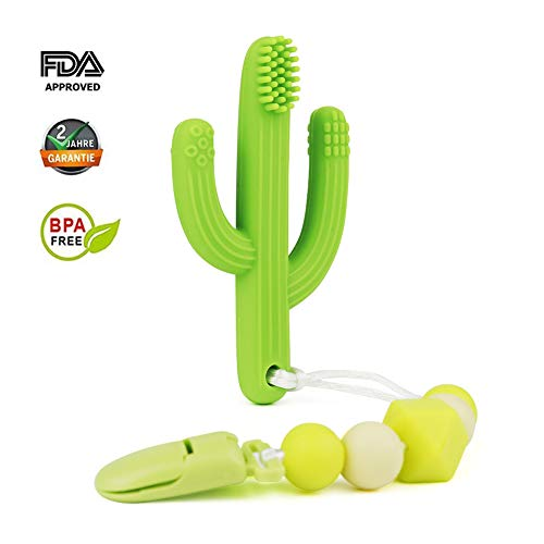 Baby Teether Toys,Cactus Teething Toy Toothbrushc and Silicone Pacifier Clips,Self-Soothing Pain Relief Teether Training Toothbrush for Babies, Toddlers, Infants, Boy and Girl,BPA Free (Green)