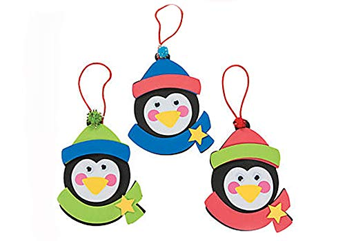 Christmas Penguin Ornament Foam Craft Kit (Makes 12) (Trading Tree Christmas Oriental)