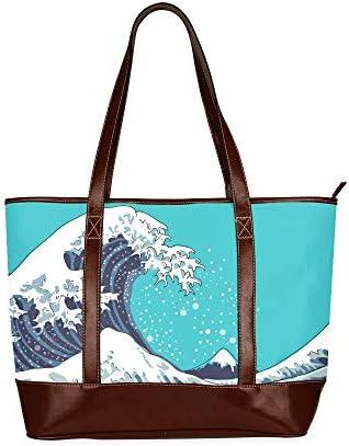 QIAOLII Japón Giant Wave Art Motif Bolso de hombro Mochila Bolso de hombro para adolescentes Bolso de hombro universal impreso de gran capacidad con cremallera Asa superior