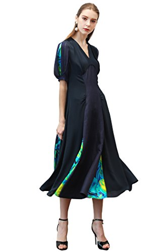 Silk Spandex Georgette Dress (VOA Women's Contrast Color Georgette X-Shaped Waist Curve Design V-Neck Pullover Silk Dress A373)