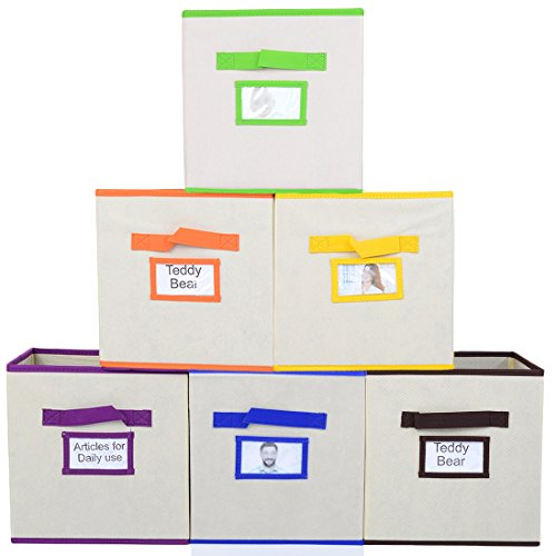 VCCUCINE Spacesaving Cubeicals Fabric Storage Cubes, Multicolor Handle and Drawer Organizers[6-Pack,6-Color Handle]