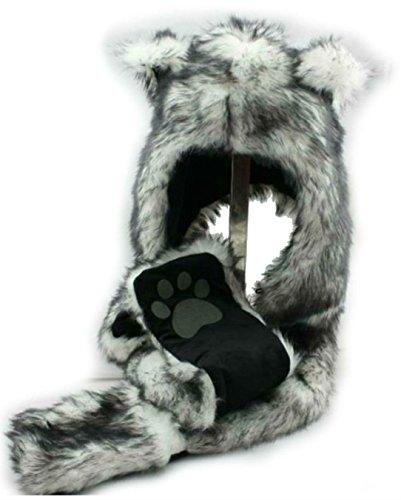 Wolf Head (White Wolf Anime Faux Animal Hood Hoods Mittens Gloves Scarf Spirit Paws Ears Zipper Pocket)