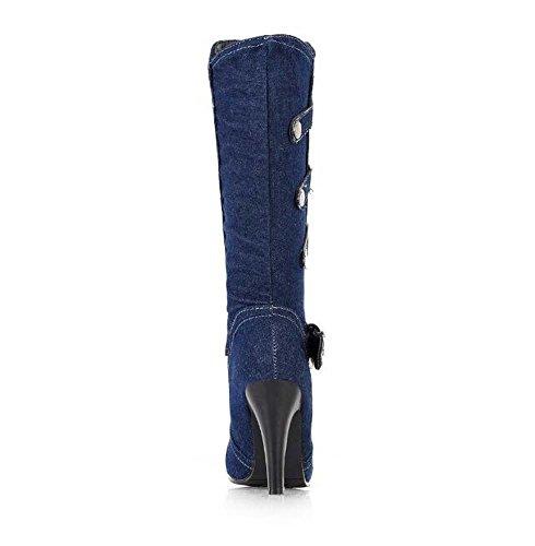 Cavaliere Dimensione 32 Eu Toe Cintura Stivali Stiletto Scarpe 8cm del Black Fibbia Punto alti 42 Abito Denim Stivali Donne ginocchio Ribattini UFTxBzXWWa