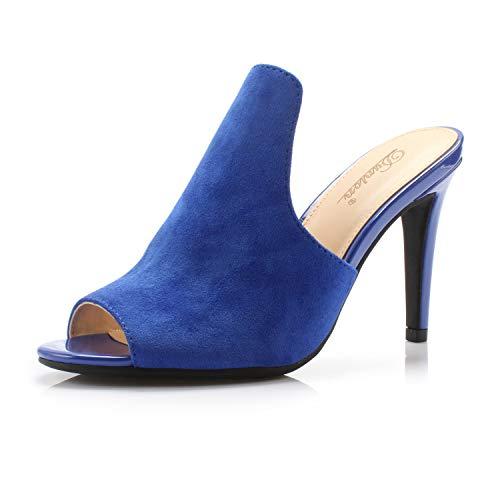 DUNION Women's Brody Comfortable Peep Toe Stiletto High Heel Dress Slip on Mules,Royal Blue,8 M US