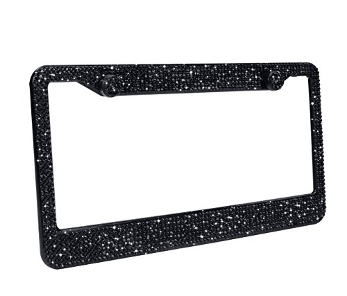 2 Pack Luxury Handcrafted Bling Black Rhinestone Premium Stainless Steel License Plate Frame with Gift Box | 1000+ pcs Finest 14 Facets SS20 Clear AB Rhinestone Crystal | Anti-Theft Screw Cap