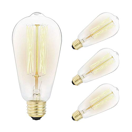 Bulb Set - 4-Pack Vintage Edison Light Bulbs Set-60W E26/E27 Base Dimmable Replacement ST58 Decorative Lightbulbs for Antique Squirrel Cage Lights, Pendant Island Ceiling Chandelier Light Lamps, Amber Warm