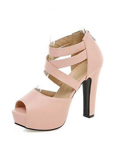 LFNLYX Zapatos de mujer-Tacón Robusto-Plataforma / Punta Abierta-Sandalias-Vestido / Fiesta y Noche-Semicuero-Negro / Rosa / Morado / Beige beige