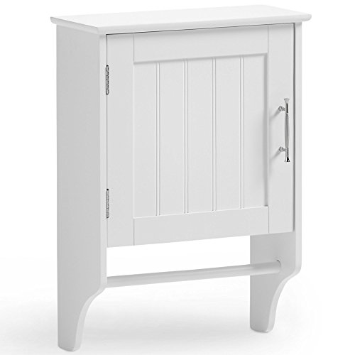 W15 One Handle - VonHaus Wall Mounted Bathroom Storage Cabinet Unit with Towel Holder - Classic White Furniture with Chrome Handles (Includes All Hardware)