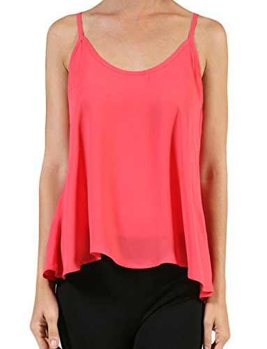 NE PEOPLE Womens Basic Light Weight Sleeveless Double Scoop Neck Flowy Cami Top