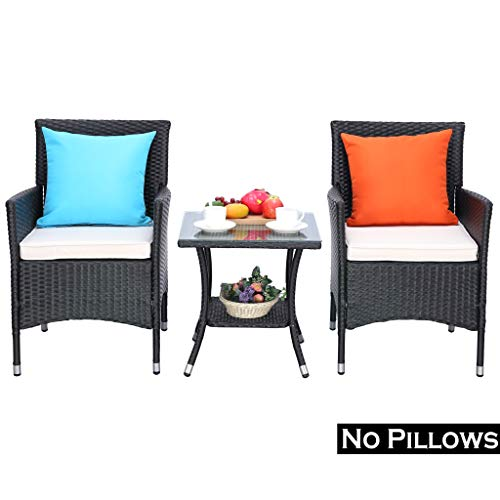 Do4U 3 Pieces Patio Furniture Set Outdoor Wicker Conversation Set Cushioned PE Wicker Bistro Set Rattan Chairs with Coffee Table Porch, Backyard, Pool Garden Dining Chairs 960-BLK-BEG
