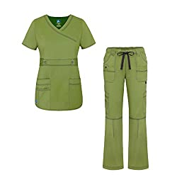 Adar Uniforms Adar Pop-stretch Junior Fit Women's Scrub Set - Crossover Top & Multi Pocket Pants - 3500 - Celery - S